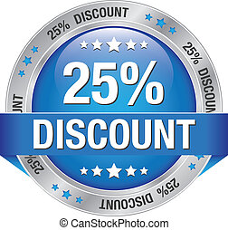 25 discount blue silver button isolated background