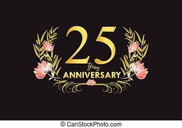 25, dourado, grinalda, aniversário, anos, aquarela