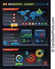 25, elemente, design, infographics