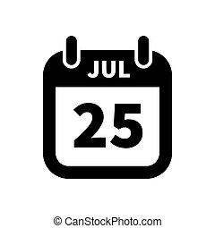 25, enkel, juli, isoleret, sort, dato, hvid, kalender, ikon