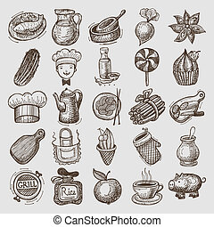 25, esboço, doodle, ícones, alimento