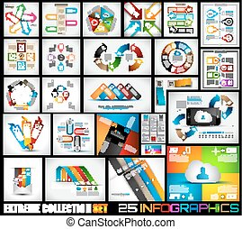 25, extrême, qualité, collection, infographics