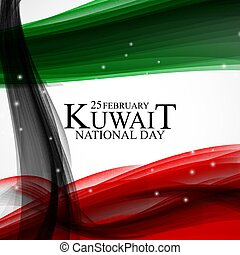25 february Kuwait national day background Template design for card, banner, poster or flyer. Vector Illustration
