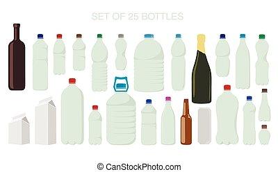 25, freigestellt, formen, von, flaschen