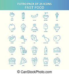25 Green and Blue Futuro Fast food Icon Pack