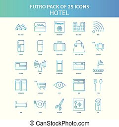 25 Green and Blue Futuro Hotel Icon Pack