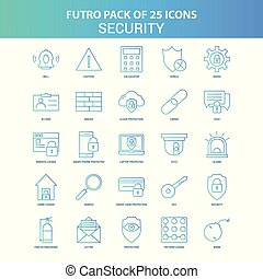 25 Green and Blue Futuro Security Icon Pack