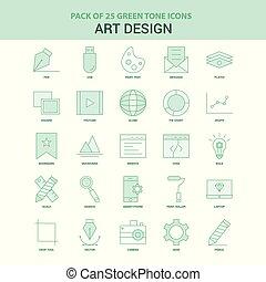 25 Green Art Design Icon set