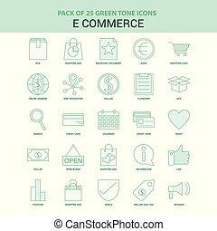25 Green E-Commerce Icon set