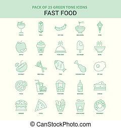 25 Green Fast food Icon set