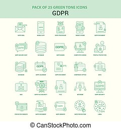 25 Green GDPR Icon set