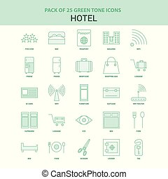 25 Green Hotel Icon set