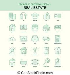 25 Green Real Estate Icon set