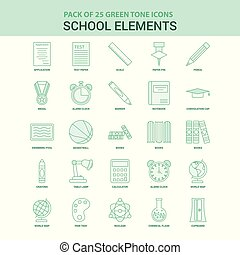 25 Green School Elements Icon set