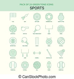 25 Green Sports Icon set