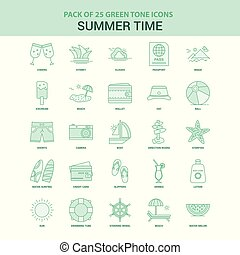 25 Green Summer Time Icon set