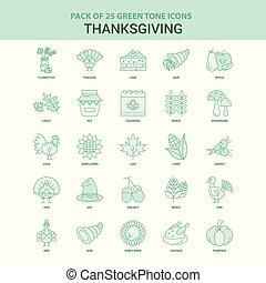 25 Green Thanksgiving Icon set