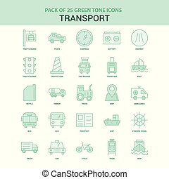 25 Green Transport Icon set
