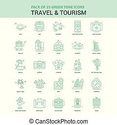 25 Green Travel and Tourism Icon set