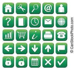 25 Green Web Button Icons Set