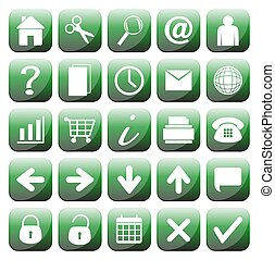 25 Green Web Icons Set