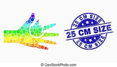 25, grunge, centimètre, pointillé, brulure, main, clair, vecteur, cachet, icône, taille
