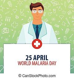 25, illustration., malaria, monde médical, day., holiday., vecteur, april., médecine, mondiale