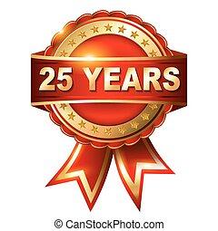 25, jahre, goldenes, jubiläum, etikett