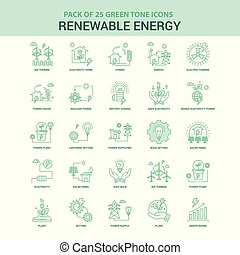 25, jogo, energia, verde, renovável, ícone
