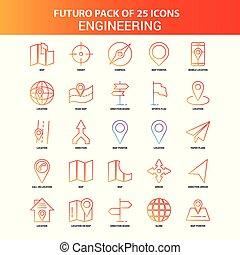 25, jogo, engenharia, laranja, futuro, ícone