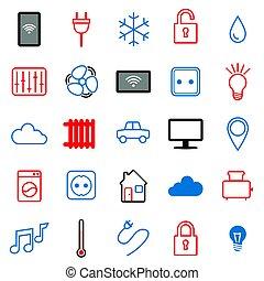 25, jogo, things., icons., internet