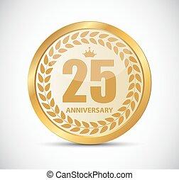 25, jubiläum, abbildung, jahre, vektor, schablone, logo