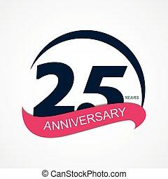 25, jubiläum, abbildung, vektor, schablone, logo