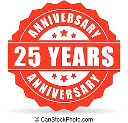 25, jubiläum, jahre, vektor, ikone, feier