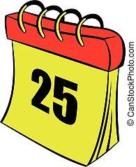 25, kalender, ikone, zahl, karikatur