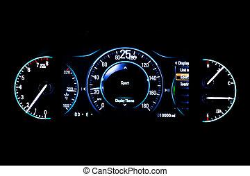 25, kilometraje, luz, moderno, mph, fondo negro, coche,...