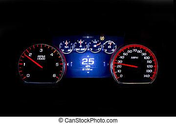 25, kilometraje, luz, moderno, mph, fondo negro, coche