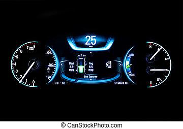 25, kilometraje, luz, moderno, mph, negro, coche,...
