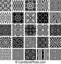 25, komplet, patterns., seamless, czarnoskóry, biały, geometryczny