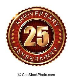 25, lata, rocznica, label., złoty