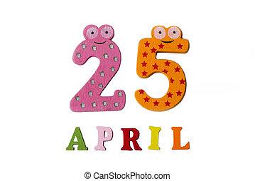 25, letters., avril, nombres, fond, blanc