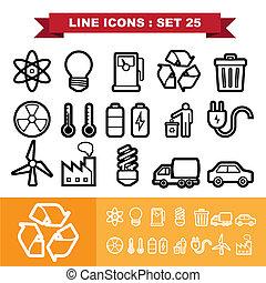 25, ligne, ensemble, icônes