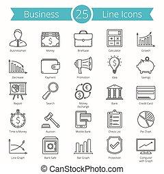 25, linea, icone affari