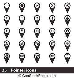 25 map pointer icons set