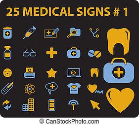 25, monde médical, vecteur, signes