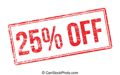 25% OFF red rubber stamp on white