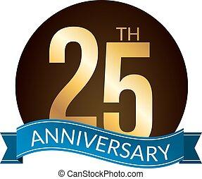 25, or, anniversaire, expérience, années, vecteur, étiquette, illustration