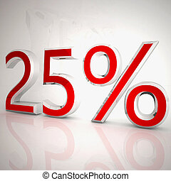 25 per cent over white reflecting background, 3d rendering