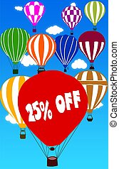 25 PERCENT OFF written on hot air balloon with a blue sky background.