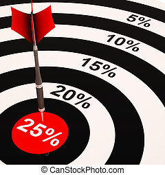 25 Percent On Dartboard Shows Selected Discounts And Price Sales